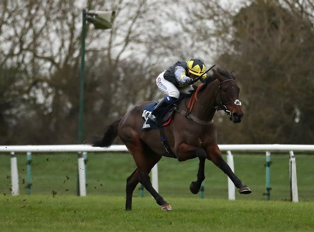 Rainyday Woman and Megan Nicholls win the Fitzdares Club Adores Henrietta Knight Mares' Standard Open NH Race at Huntingdon