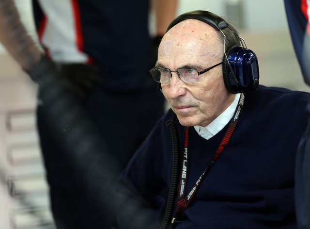 Sir Frank Williams watches on during practice at the Spanish Grand Prix