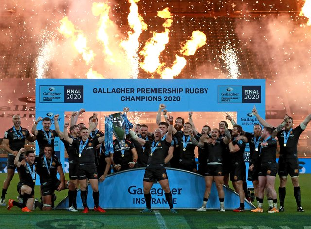 Exeter celebrate winning the 2019-20 Premiership title