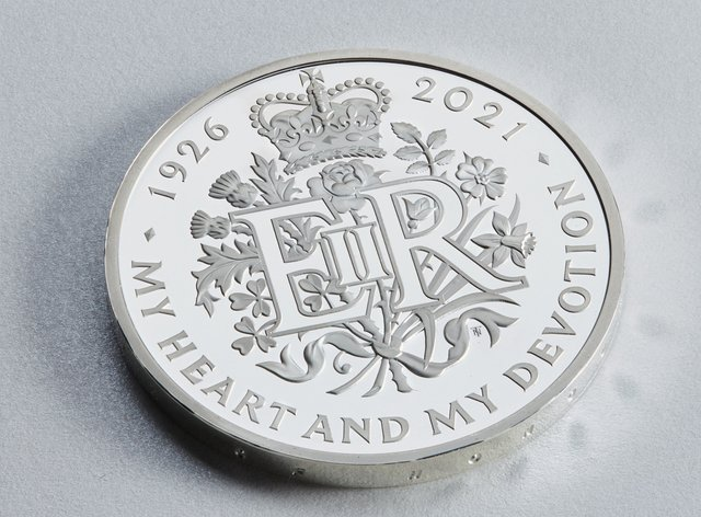 The new £5 coin celebrates the 95th birthday of the Queen