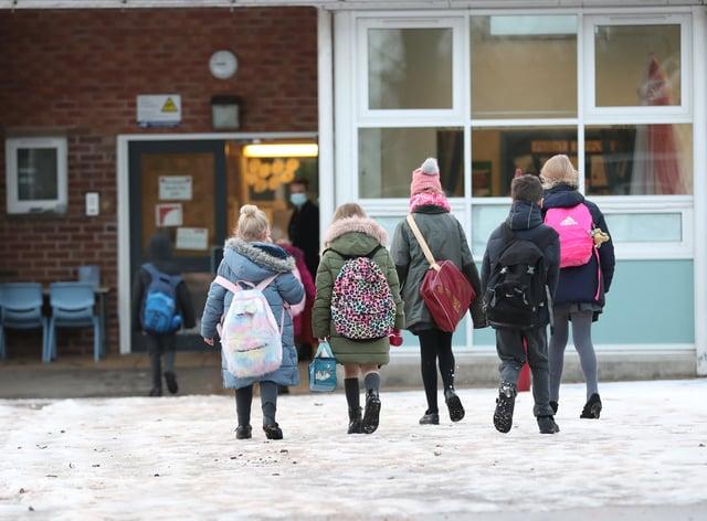 Pupils arriving at school