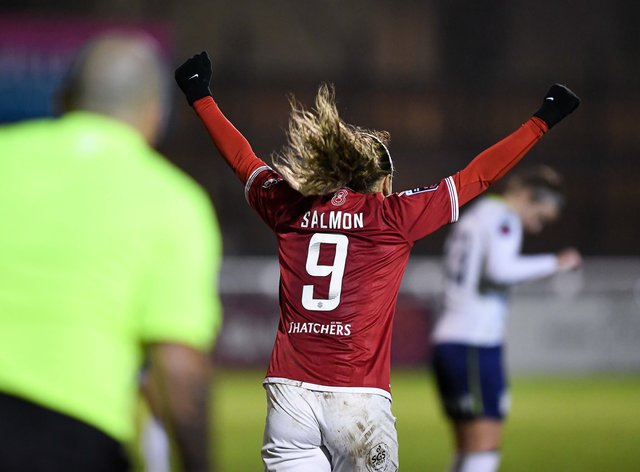 Salmon scored two goals in quick succession to go through