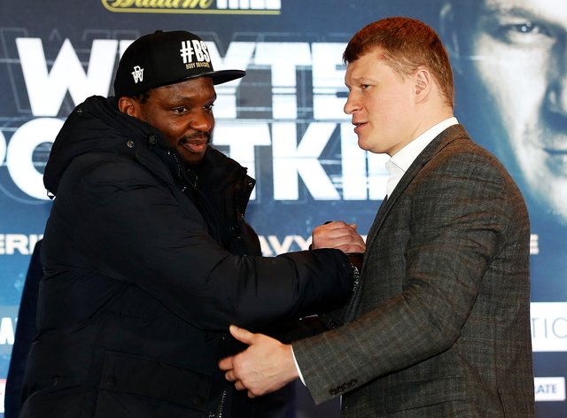 Dillian Whyte and Alexander Povetkin shake hands