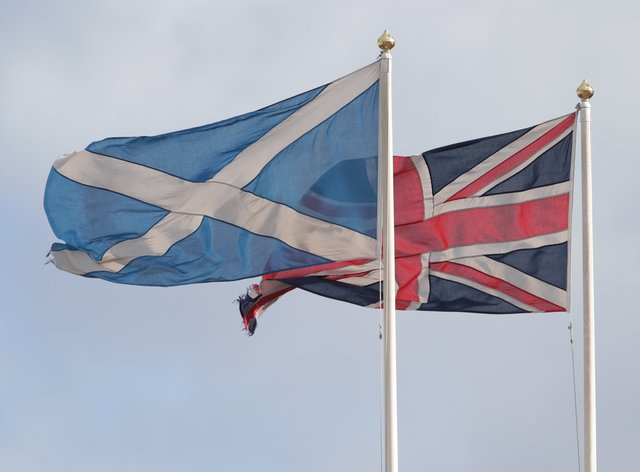 Saltire flag and Union flag
