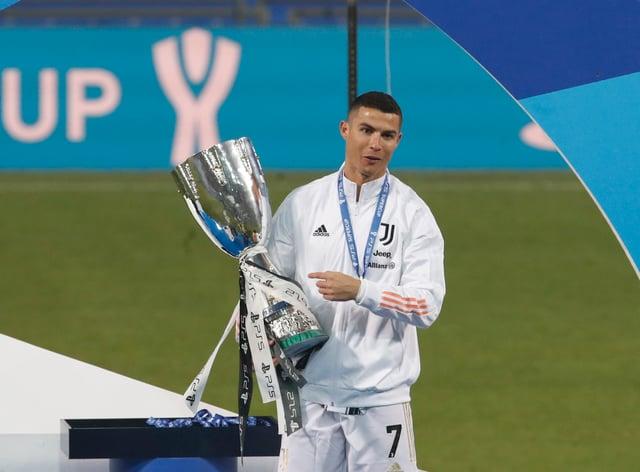 Cristiano Ronaldo celebrates winning the Italian Super Cup