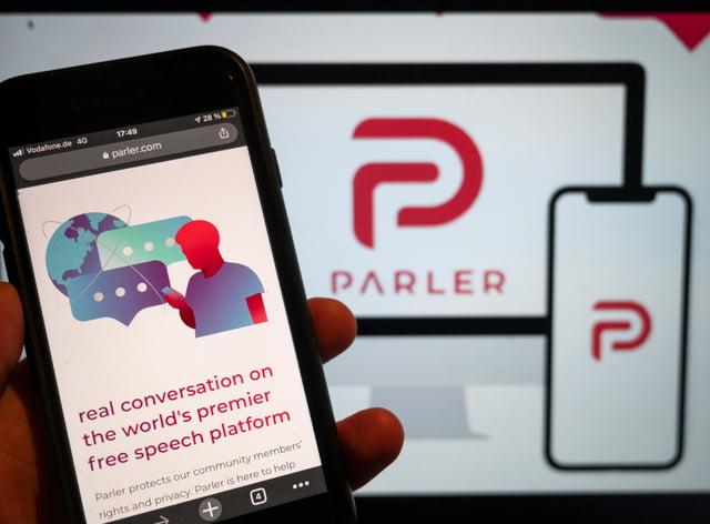 The website of the social media platform Parler