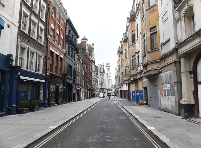 A near-empty Rupert Street in Soho, central London