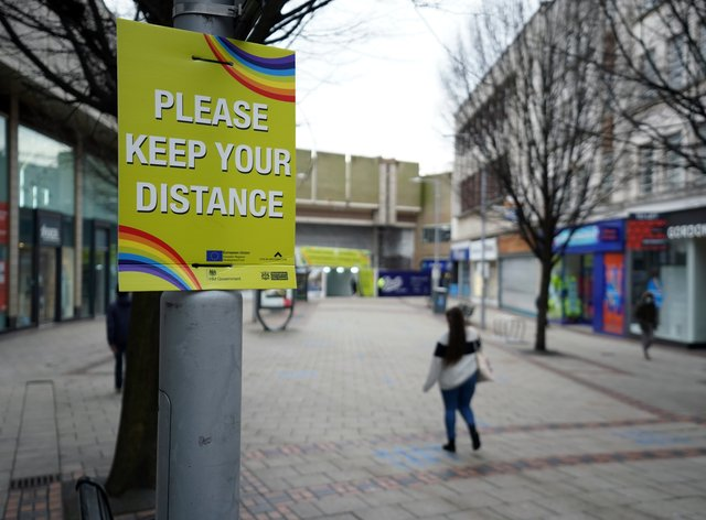 Social distancing signs in Nottingham (Zac Goodwin/PA)