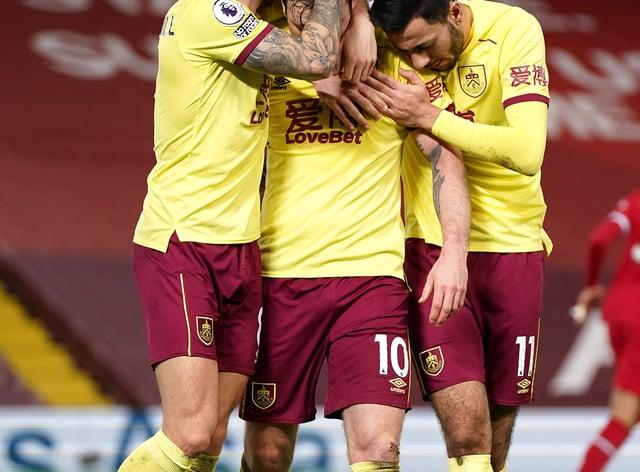 Ashley Barnes celebrates scoring the winner at Anfield
