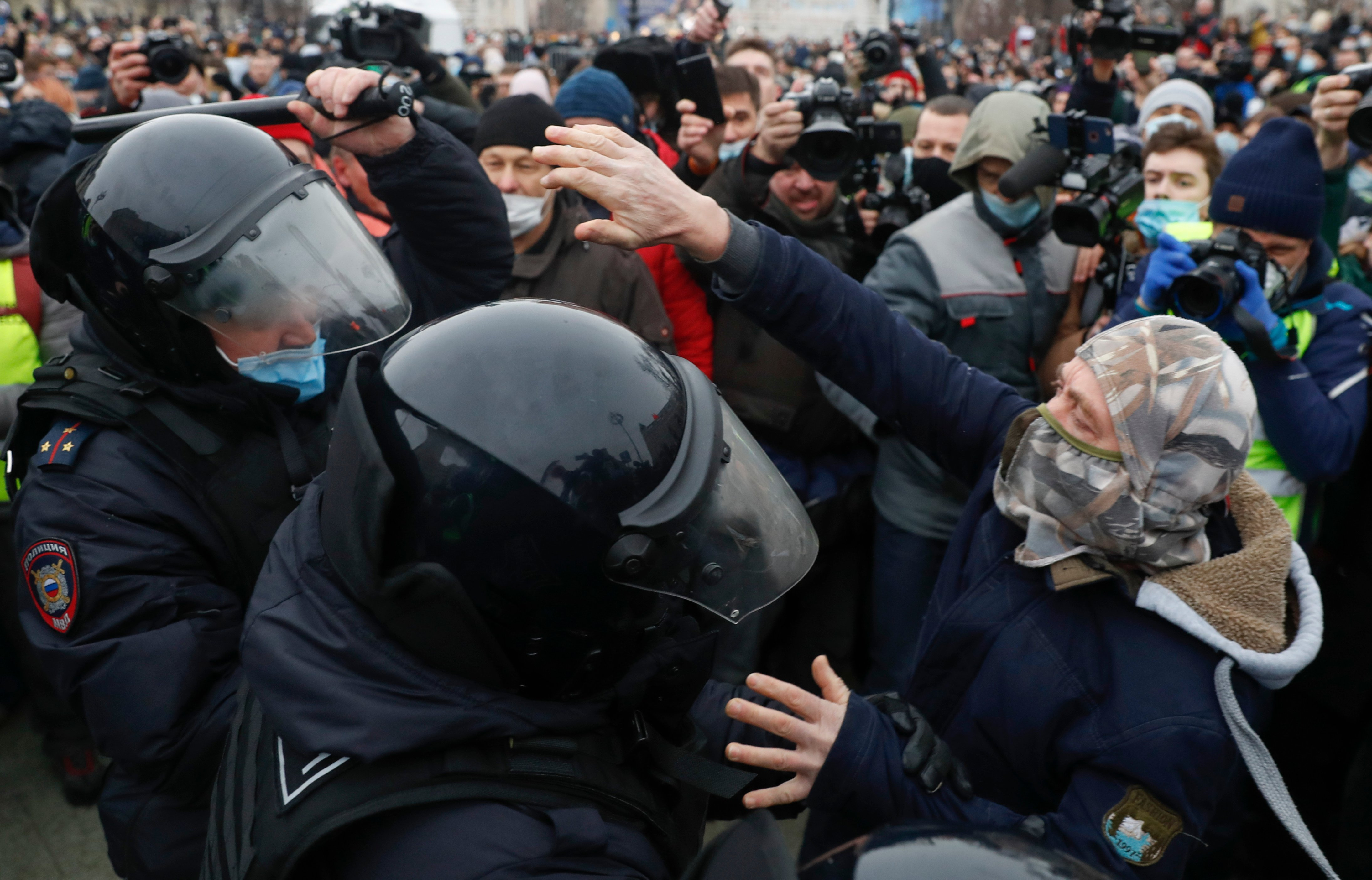 In pictures: Fury in cities across Russia over opposition leader's arrest