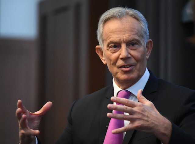 Former prime minister Tony Blair during a speech