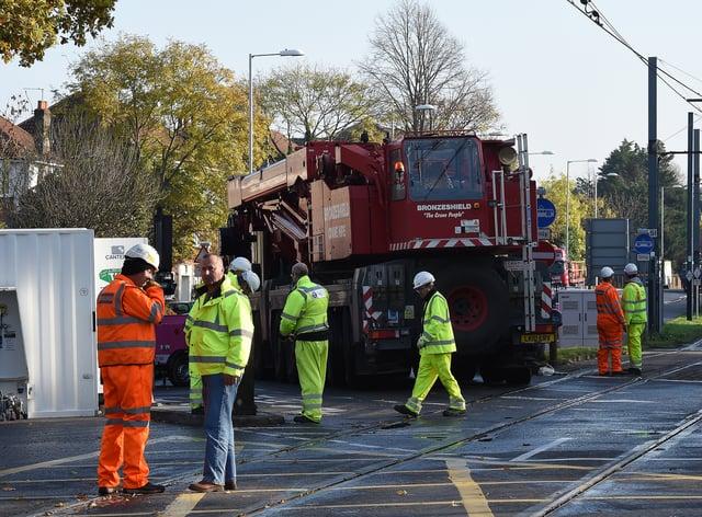 The scene near the tram crash in Croydon in 2016