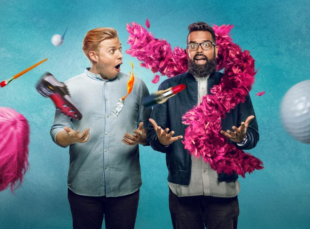 Undated Handout Photo from Rob & Romesh Vs. Pictured: (L-R) Rob Beckett, Romesh Ranganathan. See PA Feature SHOWBIZ TV Quickfire Ranganathan Beckett. Picture credit should read: PA Photo/©Sky UK Limited. WARNING: This picture must only be used to accompany PA Feature SHOWBIZ TV Quickfire Ranganathan Beckett.