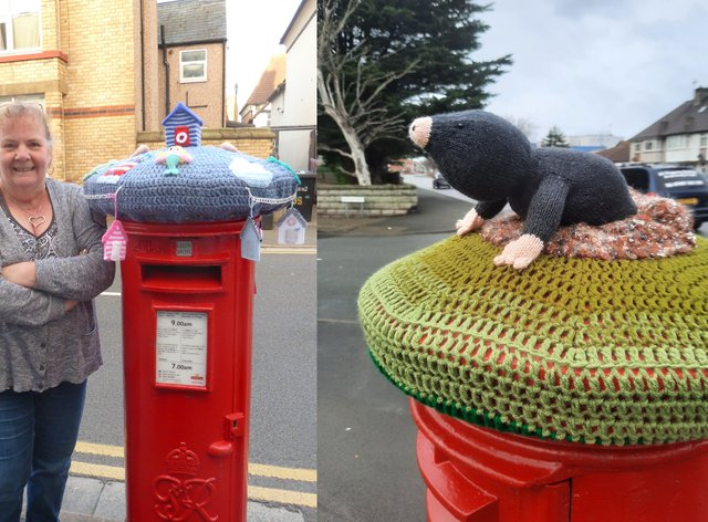 Ruth Williamson and one of her topped post boxes