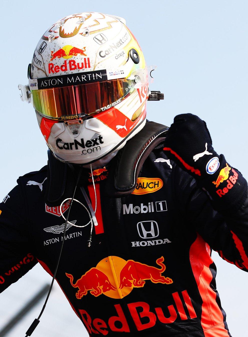 Max Verstappen celebrates a victory