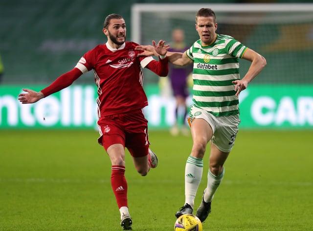Kristoffer Ajer battling with Aberdeen striker Fraser Hornby