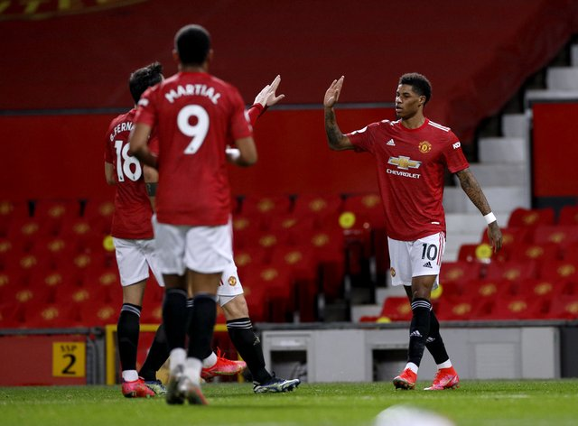 Marcus Rashford, right, opened the scoring for Manchester United against Newcastle