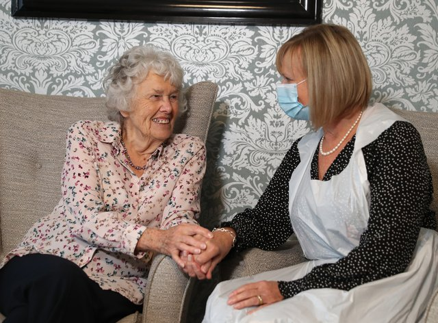 Care home resident Doreen (left) with her daughter Sandy