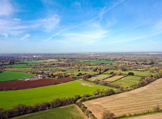 An aerial view of farm fields near Wokingham in Berkshire
