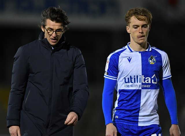 Joey Barton, left, lost his first game as Bristol Rovers boss