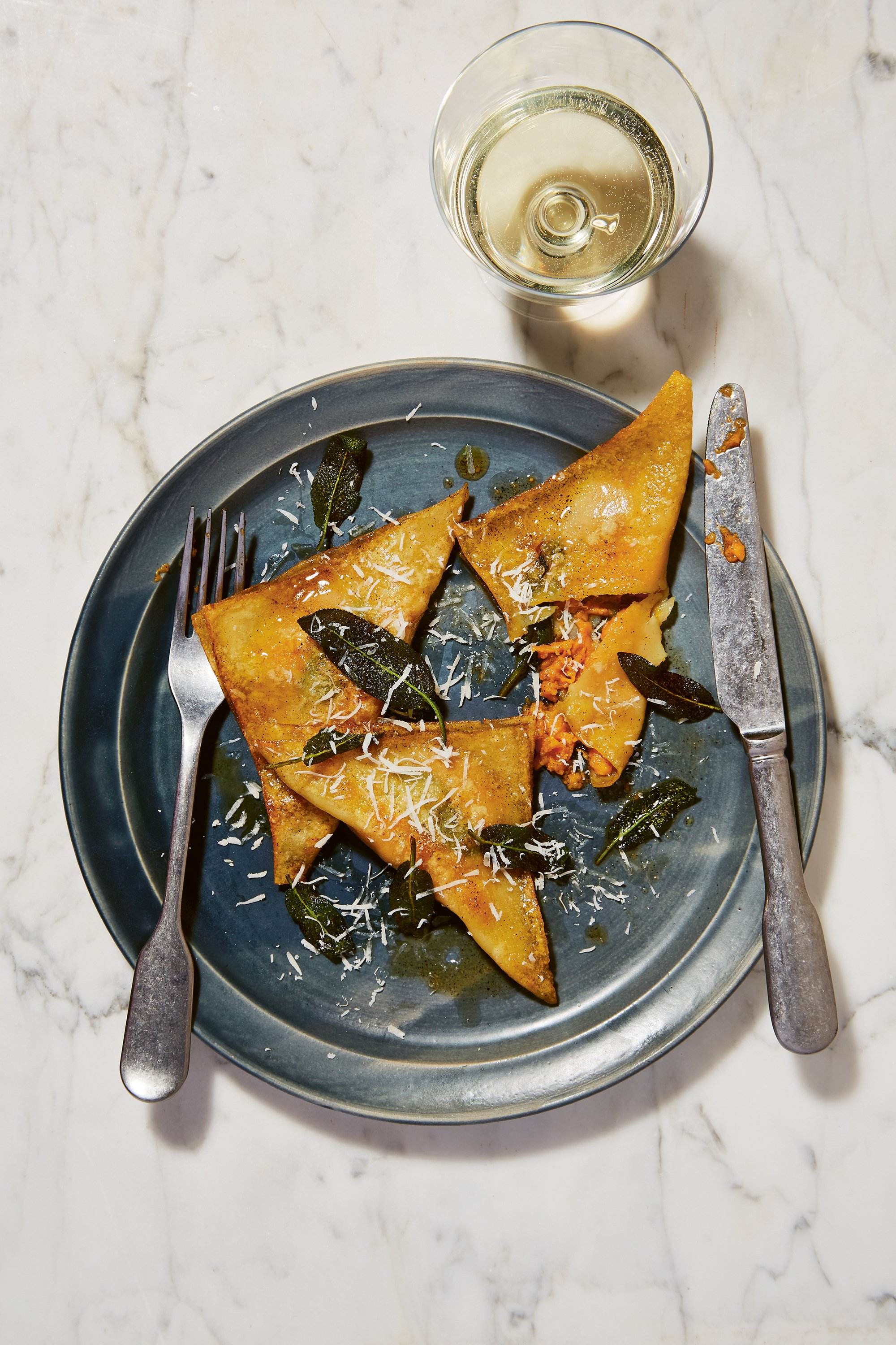 Sweet potato ravioli recipe with sage and brown butter