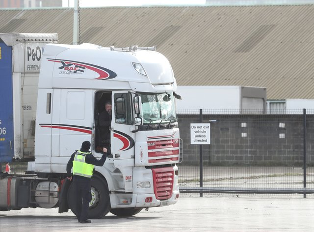 A lorry is checked