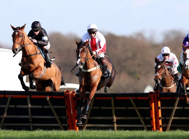 Goshen (red and white colours) is in fine form ahead of the Champion Hurdle following his easy victory at Wincanton