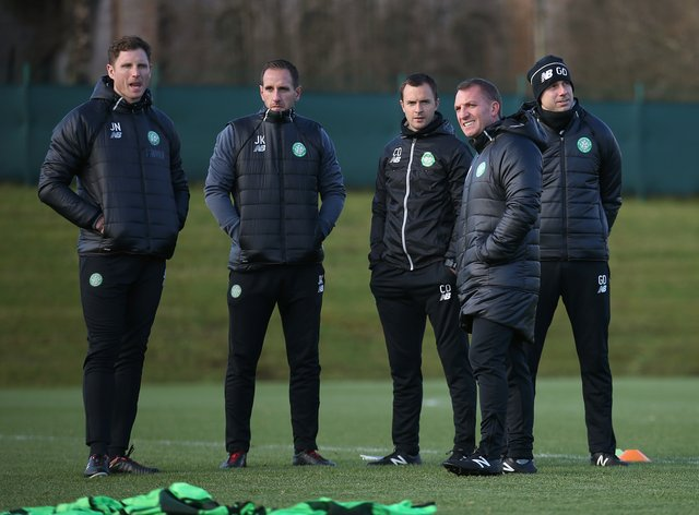 John Kennedy, second from left, has been backed to succeed by Brendan Rodgers, second from right