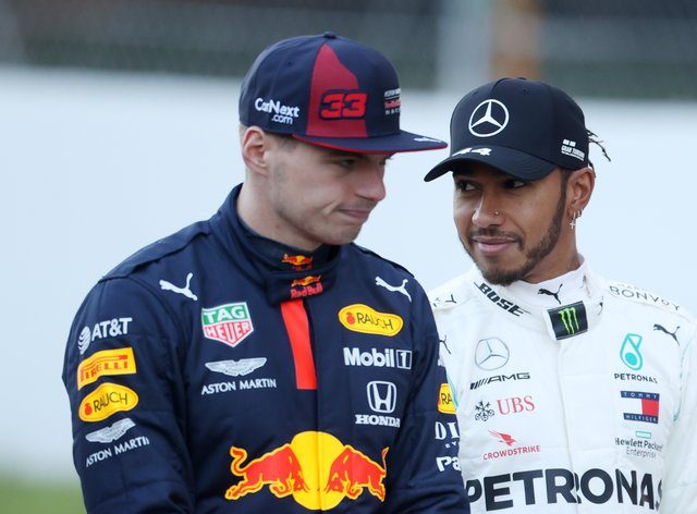 Max Verstappen, left, is not thinking about his future amid speculation linking him with a move to Mercedes as Lewis Hamilton's replacement