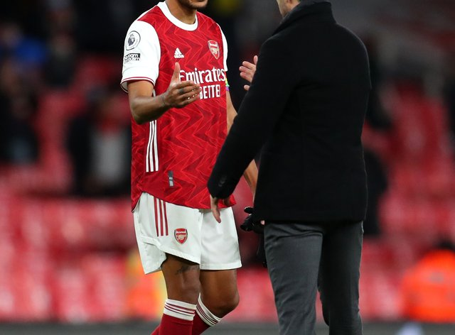 "Arsenal manager Mikel Arteta believes Pierre-Emerick Aubameyang, lft, has responded well to ""difficult moments"" recently"