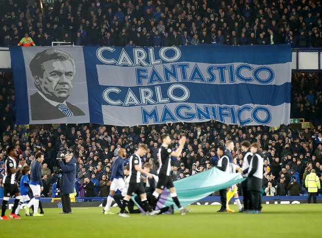 Everton fans' 'Carlo Fantastico' banner in the Gwladys Street End