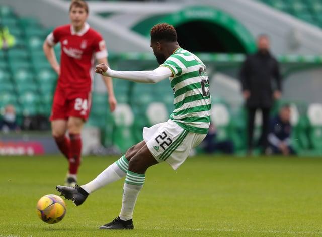 Celtic's Odsonne Edouard (right) scoress against Aberdeen