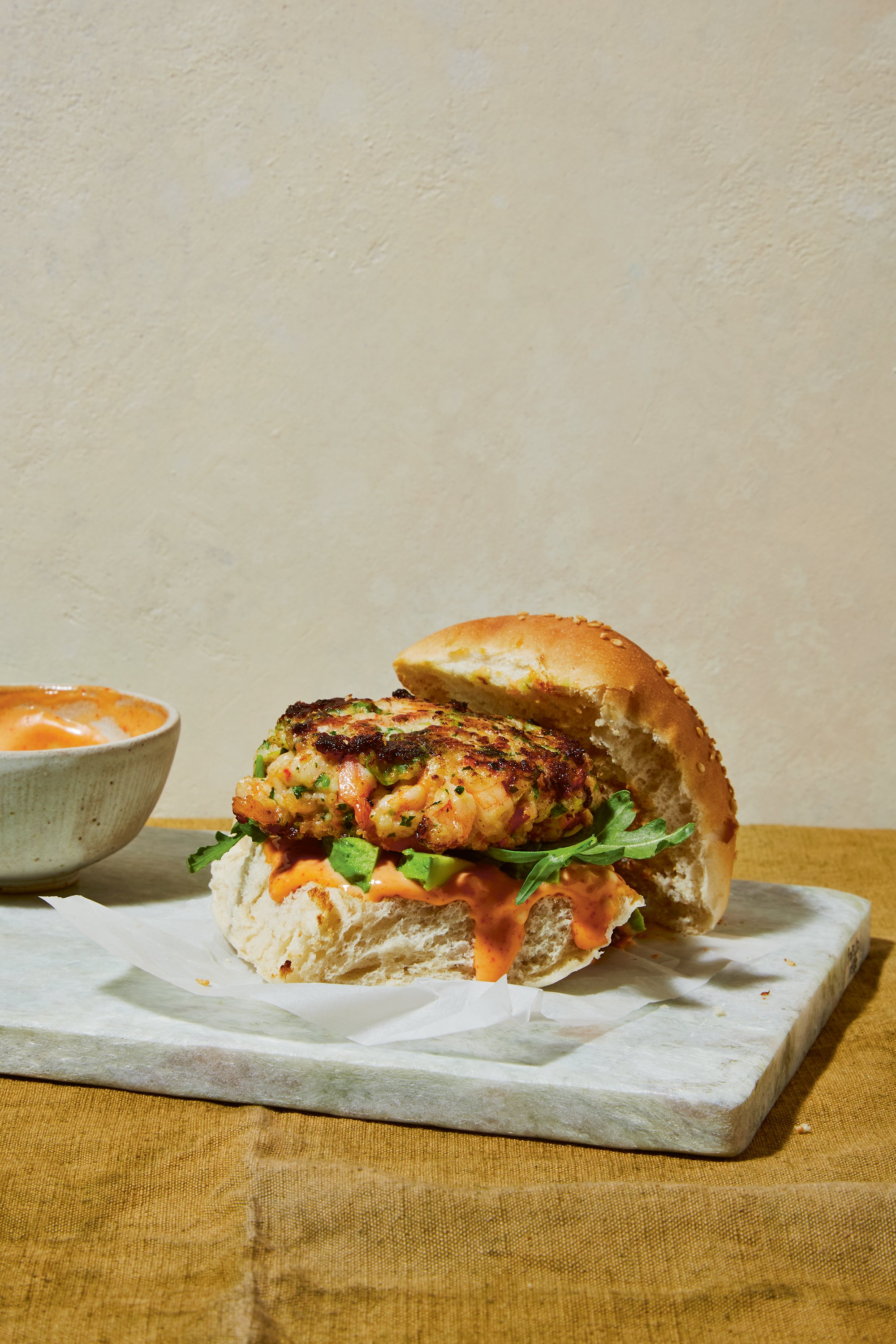 Shrimp burger recipe with sriracha mayo