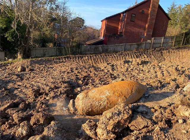 An unexploded Second World War bomb in Exeter