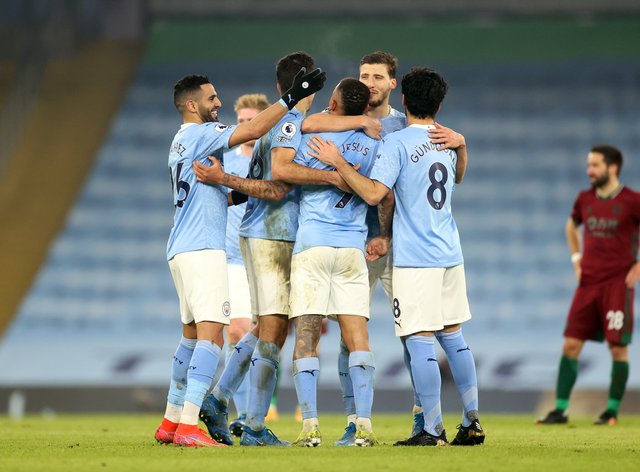 Manchester City celebrate victory over Wolves