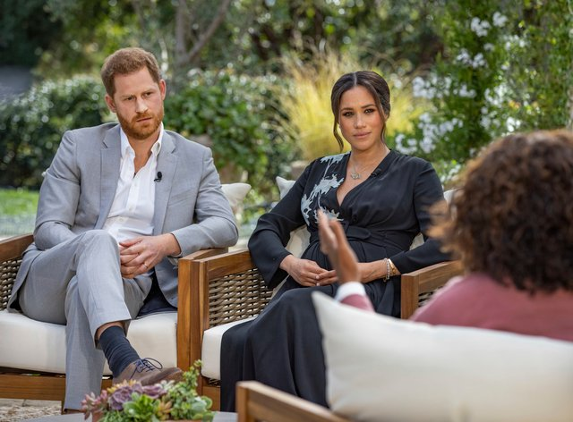 Duke and Duchess of Sussex during their interview with Oprah Winfrey