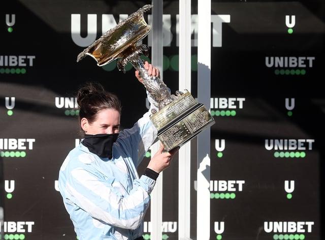 Rachael Blackmore celebrates after winning the Unibet Champion Hurdle on Honeysuckle