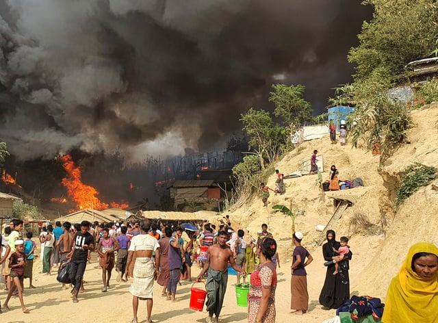 A fire at a Rohingya refugee camp in Bangladesh
