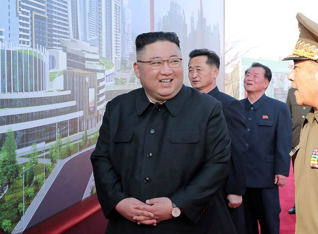 North Korean leader Kim Jong Un at a ceremony in Pyongyang on Tuesday