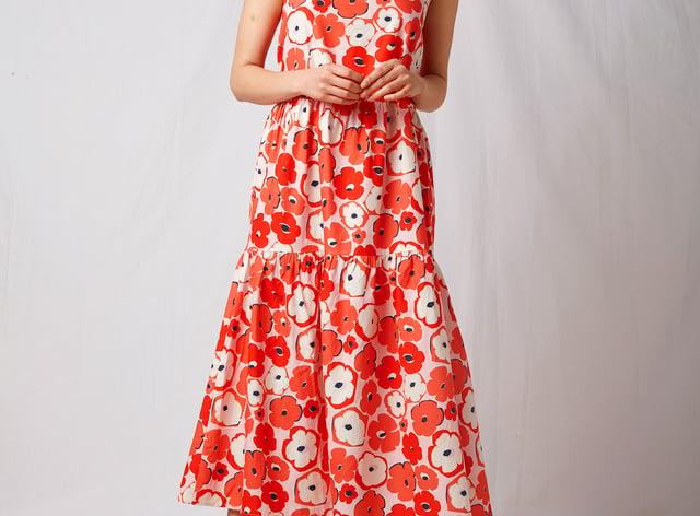Omnes BCI Cotton Tiered Midi Dress in Poppy Print