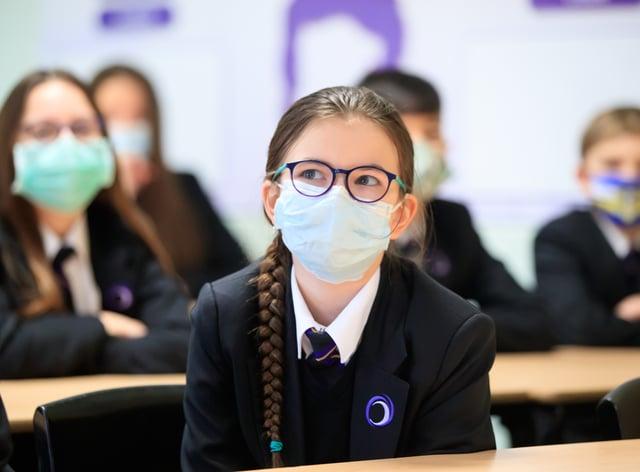 Pupils wearing facemasks