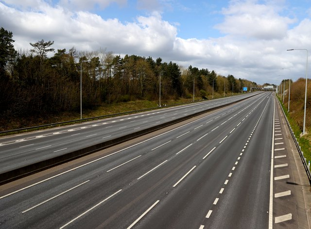 An empty stretch of the M1 motorway near to Nottingham