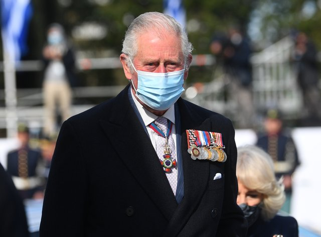 The Prince of Wales during a wreath-laying ceremony at the Memorial of the Unknown Soldier in Syntagma Square, Athens