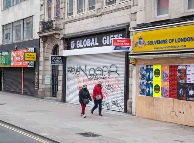 Shuttered shops on Oxford Street, London