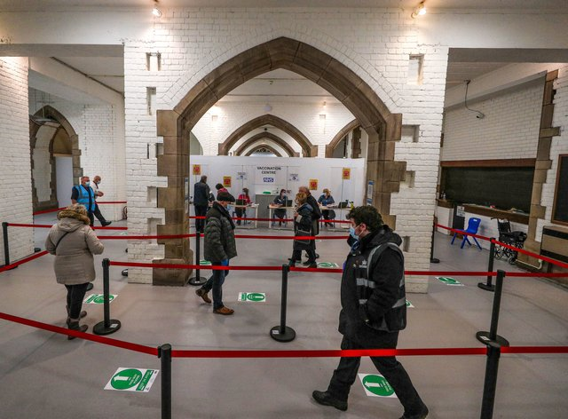 The crypt of Blackburn Cathedral, which is being used as a Covid-19 vaccination centre (Peter Byrne/PA)