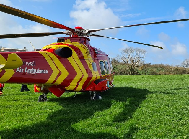 A Cornwall Air Ambulance at the scene of the crash