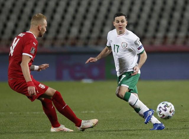 Republic of Ireland midfielder Josh Cullen (right) in action in Serbia