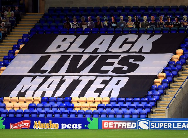 A Black Lives Matter banner in the stands during the Super League match at Warrington