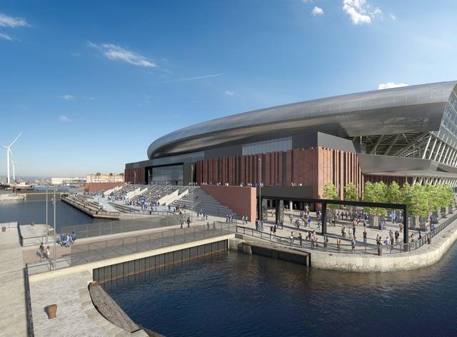 An artist's impression of Everton's Bramley-Moore Dock Stadium