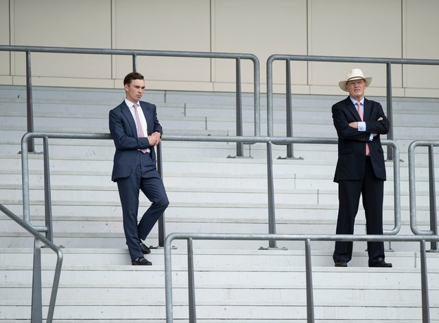 John Gosden (right) and son Thady were successful with their first runner since taking out a dual licence